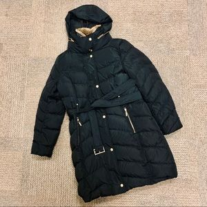 COLE HAAN black down long belted puffer coat